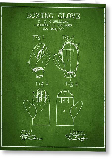 Boxing Glove Patent From 1889 - Green Greeting Card by Aged Pixel