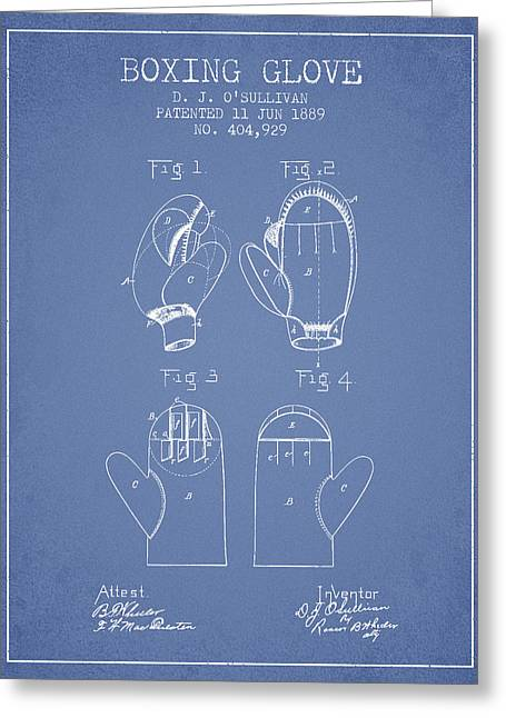 Boxing Glove Patent From 1889 - Light Blue Greeting Card by Aged Pixel