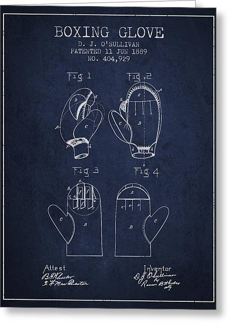 Boxing Glove Patent From 1889 - Navy Blue Greeting Card by Aged Pixel