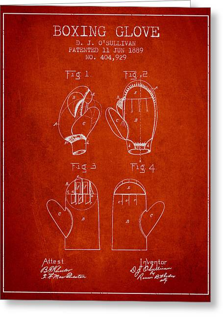 Boxing Glove Patent From 1889 - Red Greeting Card by Aged Pixel