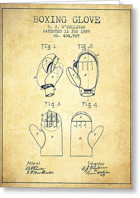 Boxing Glove Patent From 1889 - Vintage Greeting Card by Aged Pixel