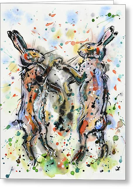 Boxing Hares Greeting Card by Zaira Dzhaubaeva