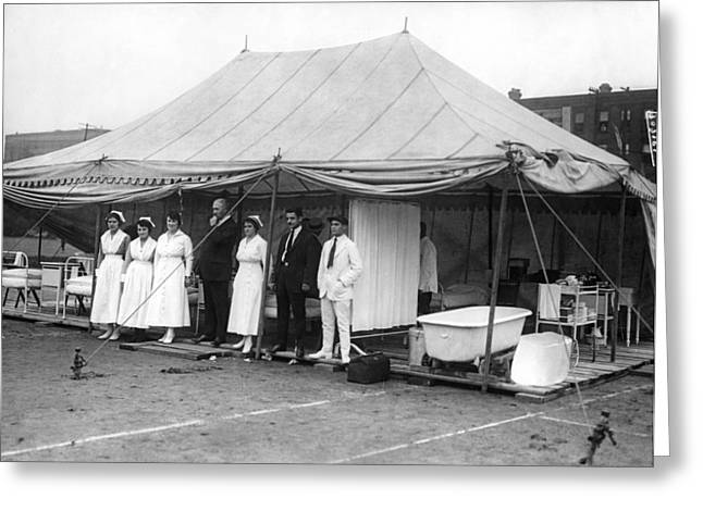 Boxing Match Field Hospital Greeting Card by Underwood Archives