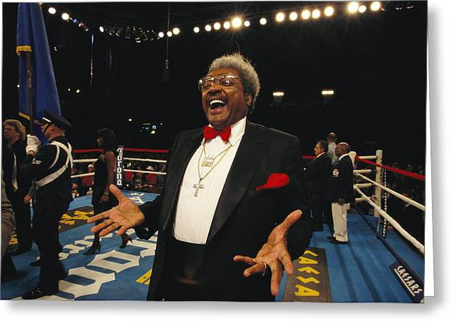 Informal Portraits Greeting Cards - Boxing Promoter Don King In The Boxing Greeting Card by Maria Stenzel