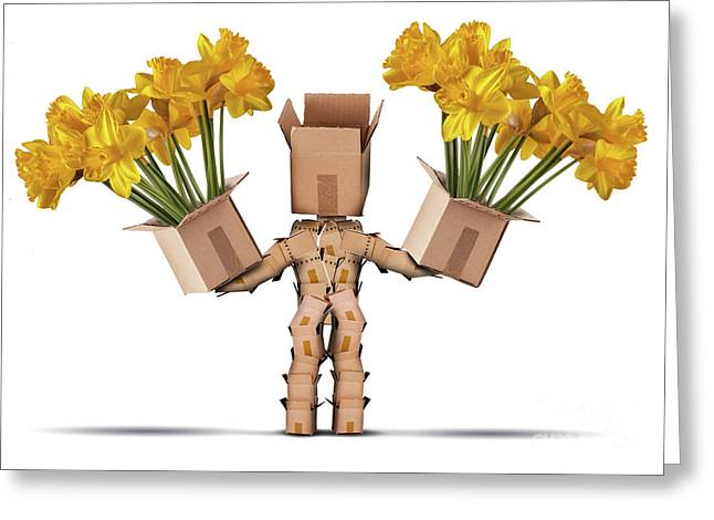 Boxman Character Holding Two Boxes Of Flower Greeting Card by Simon Bratt Photography LRPS
