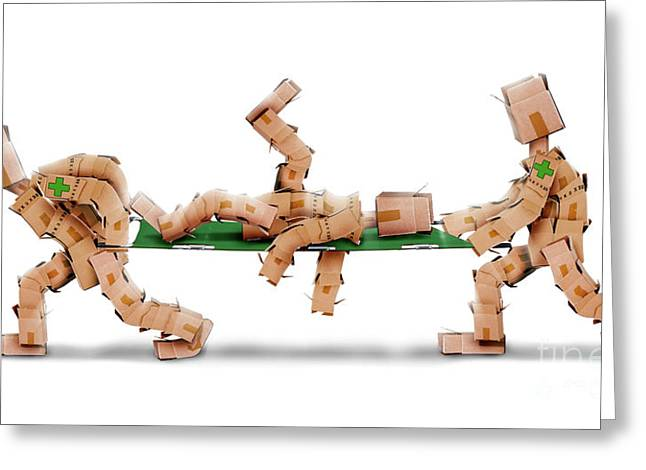 Boxmen With Patient On Stretcher Greeting Card