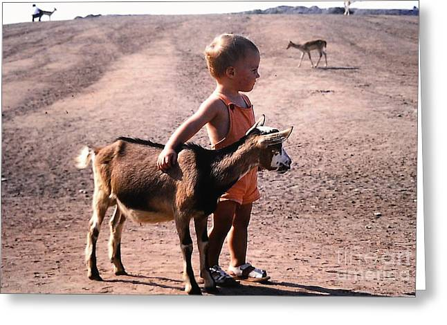 Boy And A Goat Greeting Card