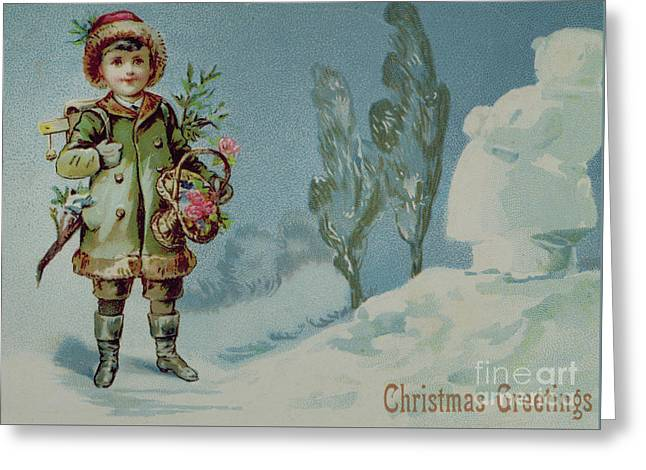 Boy And A Snowman, Victorian Christmas Card Greeting Card