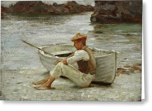 Greeting Card featuring the painting Boy And Boat  by Henry Scott Tuke