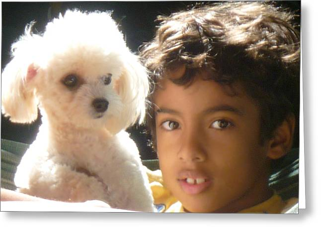 Greeting Card featuring the photograph Boy And Dog by Beto Machado