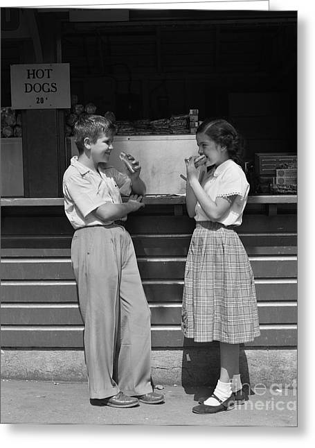 Boy And Girl Eating Hot Dogs, C.1950s Greeting Card
