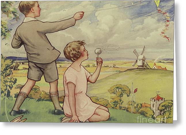 Boy And Girl Flying A Kite Greeting Card