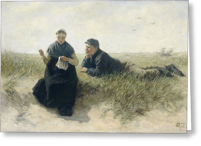 Boy And Girl In The Dunes Greeting Card by Adolph Artz
