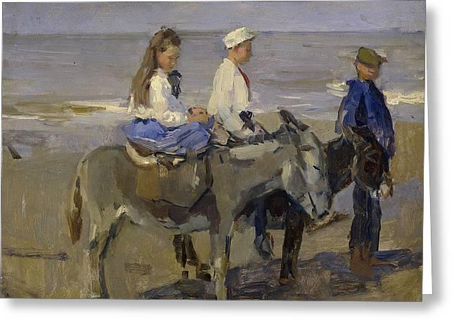 Boy And Girl Riding Donkeys Greeting Card