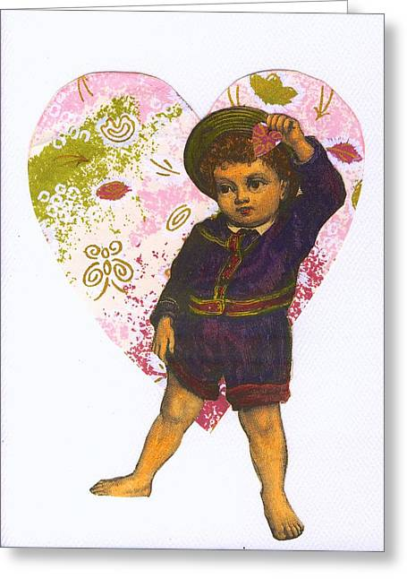 Little Boy Mixed Media Greeting Cards - Boy and Heart Greeting Card by Marcia Masino