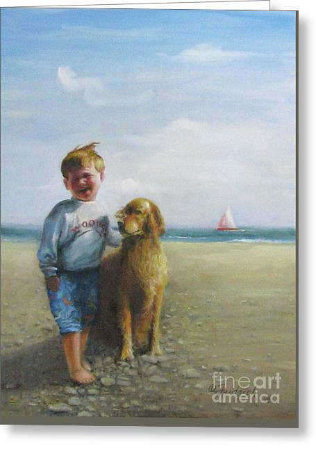 Boy And His Dog At The Beach Greeting Card by Oz Freedgood