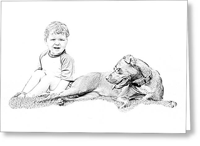 Boy And His Dog Greeting Card by Ralph  Perdomo