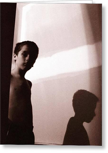 Boy And Shadow Greeting Card