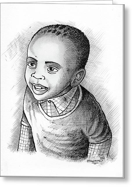 Boy Greeting Card by Anthony Mwangi