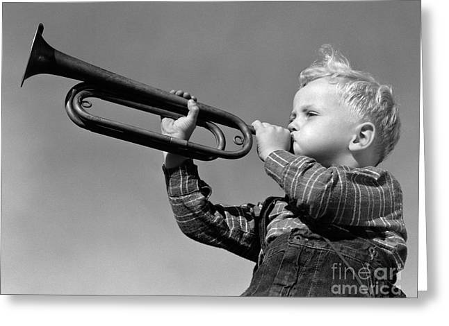 Boy Blowing Bugle, C.1940s Greeting Card by H. Armstrong Roberts/ClassicStock