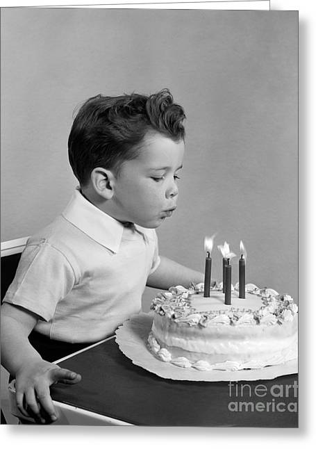 Boy Blowing Out Candles On Cake, C.1950s Greeting Card
