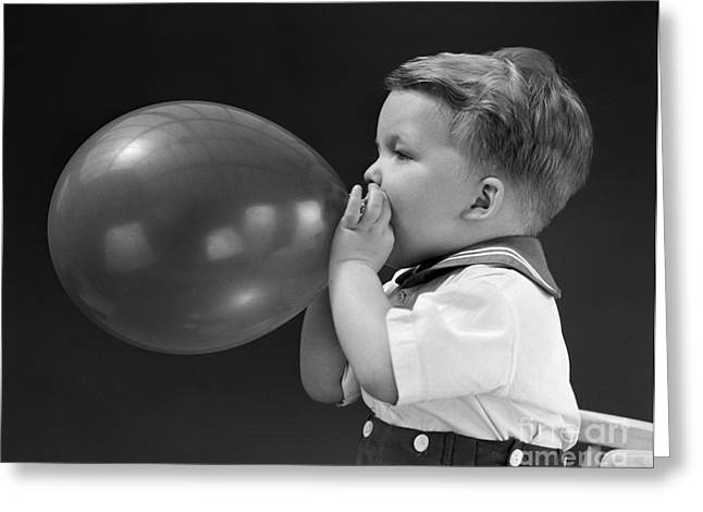 Boy Blowing Up Balloon, C.1940s Greeting Card