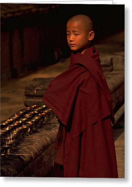 Boy Buddhist In Bodh Gaya Greeting Card