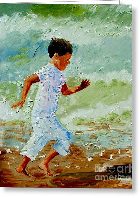 Boy By The Sea Greeting Card by Inna Montano
