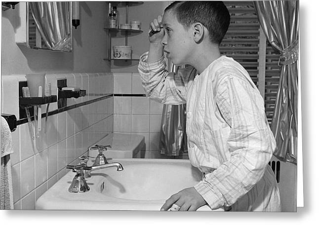 Boy Combing Hair, C.1950s Greeting Card by E. Hibbs/ClassicStock