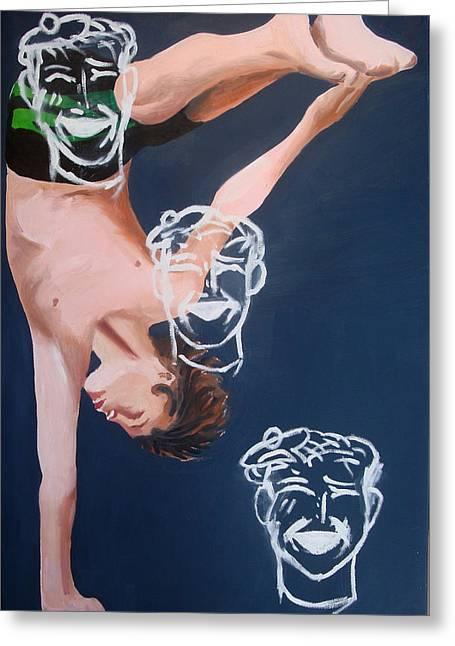 Boy Diver With 3 Tam-o-shanters Greeting Card by Geoff Greene