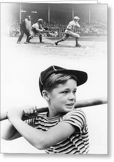 Boy Dreams Of Baseball, C.1930s Greeting Card by H. Armstrong Roberts/ClassicStock