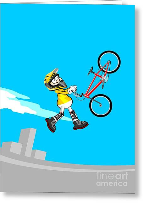 Boy Dressed In Yellow Jumping High In The Stadium With His Bmx Bicycle Greeting Card