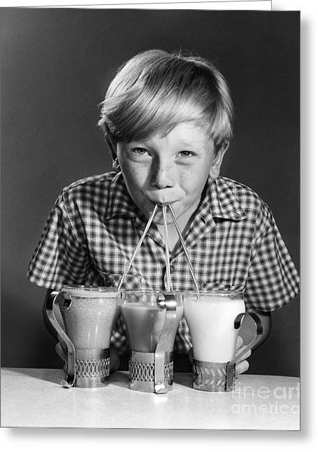 Boy Drinking Three Shakes At Once Greeting Card