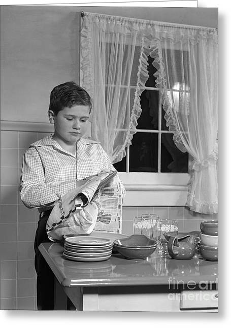 Boy Drying Dishes, C.1950s Greeting Card by H. Armstrong Roberts/ClassicStock