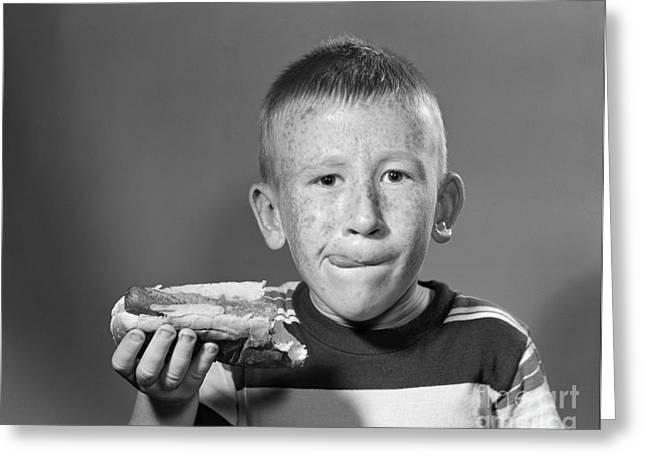 Boy Eating A Hot Dog, C.1950s Greeting Card