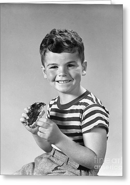 Boy Eating Bread And Jam, C.1940s Greeting Card by H. Armstrong Roberts/ClassicStock