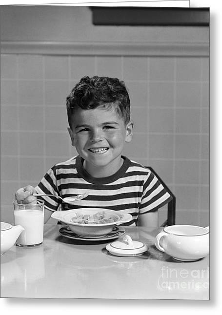 Boy Eating Cereal, C.1940-50s Greeting Card by H. Armstrong Roberts/ClassicStock