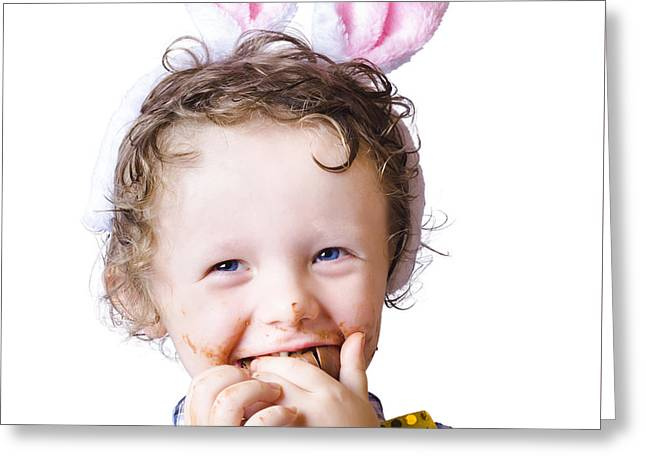 Boy Eating Easter Egg Greeting Card by Jorgo Photography - Wall Art Gallery