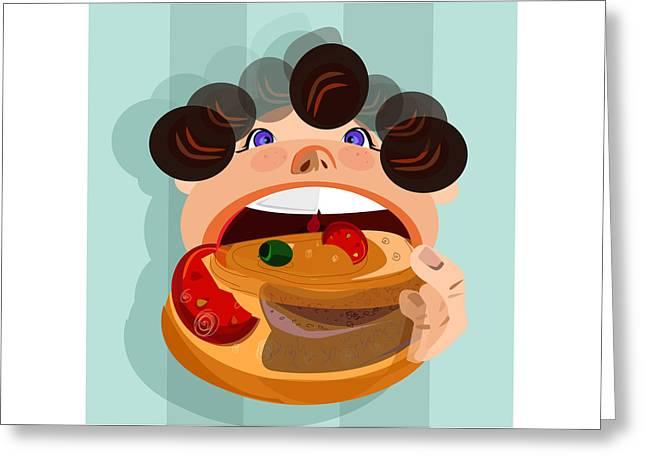 Boy Eating Hamburger Greeting Card