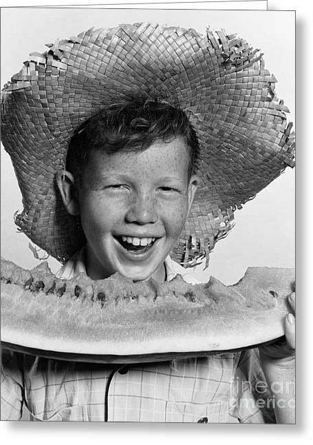 Boy Eating Watermelon, C.1940-50s Greeting Card by H. Armstrong Roberts/ClassicStock