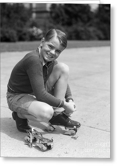 Boy Fastening Roller Skates, C.1930s Greeting Card by H. Armstrong Roberts/ClassicStock