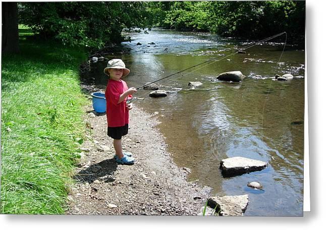 Boy Fishing Greeting Card by Andrea Kilbane
