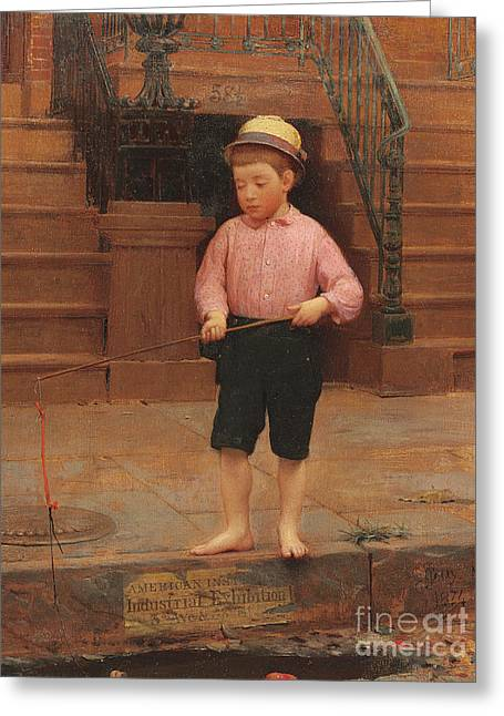 Boy Fishing At 58 And A Half East 10th Street, 1871 Greeting Card