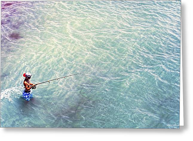 Boy Fishing Greeting Card by Glenn Gemmell