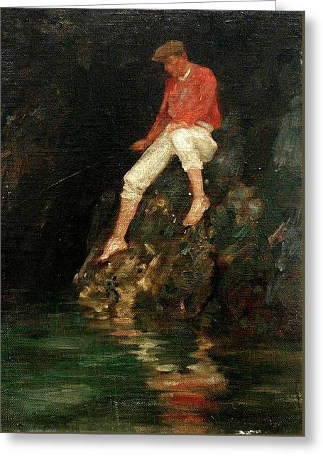 Greeting Card featuring the painting Boy Fishing On Rocks  by Henry Scott Tuke