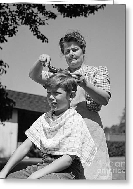 Boy Getting A Haircut, C.1940s Greeting Card by H. Armstrong Roberts/ClassicStock