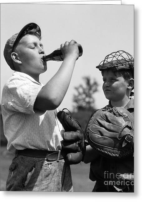 Boy Hogging Soda, C.1930s Greeting Card by H. Armstrong Roberts/ClassicStock