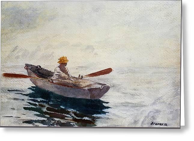 Boy In A Boat Greeting Card