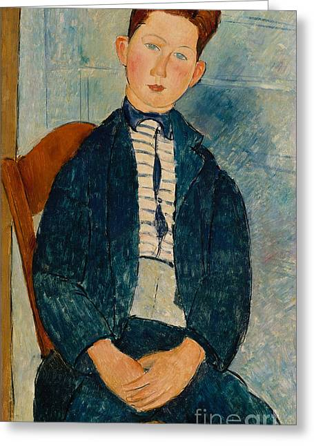 Boy In A Striped Sweater, 1918 Greeting Card by Amedeo Modigliani