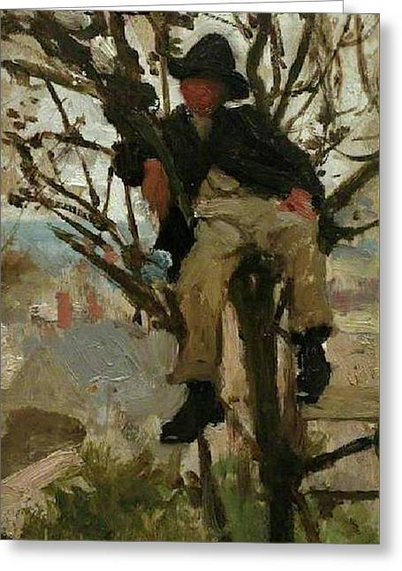 Greeting Card featuring the painting Boy In A Tree by Henry Scott Tuke